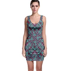 Stylized Texture Luxury Ornate Sleeveless Bodycon Dress
