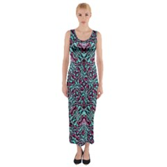 Stylized Texture Luxury Ornate Fitted Maxi Dress
