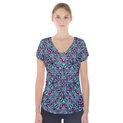 Stylized Texture Luxury Ornate Short Sleeve Front Detail Top