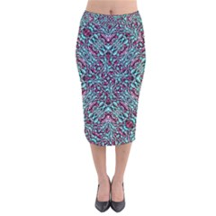 Stylized Texture Luxury Ornate Velvet Midi Pencil Skirt