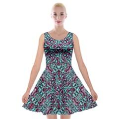 Stylized Texture Luxury Ornate Velvet Skater Dress