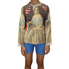 Betsy Ross Author of The First American Flag and Seal Patriotic USA Vintage Portrait Kids  Long Sleeve Swimwear