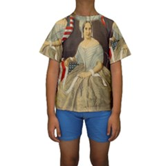 Betsy Ross Author of The First American Flag and Seal Patriotic USA Vintage Portrait Kids  Short Sleeve Swimwear