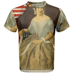 Betsy Ross Author of The First American Flag and Seal Patriotic USA Vintage Portrait Men s Cotton Tee