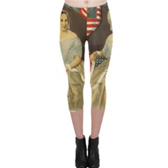 Betsy Ross Author of The First American Flag and Seal Patriotic USA Vintage Portrait Capri Leggings