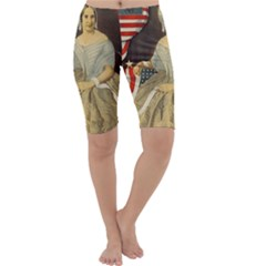 Betsy Ross Author of The First American Flag and Seal Patriotic USA Vintage Portrait Cropped Leggings