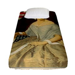 Betsy Ross Author of The First American Flag and Seal Patriotic USA Vintage Portrait Fitted Sheet (Single Size)