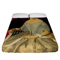 Betsy Ross Author of The First American Flag and Seal Patriotic USA Vintage Portrait Fitted Sheet (California King Size)