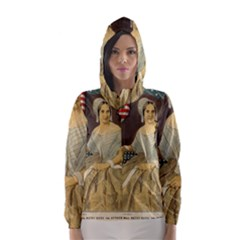 Betsy Ross Author of The First American Flag and Seal Patriotic USA Vintage Portrait Hooded Wind Breaker (Women)