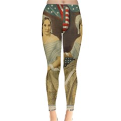 Betsy Ross Author of The First American Flag and Seal Patriotic USA Vintage Portrait Classic Winter Leggings