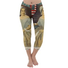 Betsy Ross Author of The First American Flag and Seal Patriotic USA Vintage Portrait Capri Winter Leggings