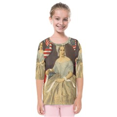 Betsy Ross Author of The First American Flag and Seal Patriotic USA Vintage Portrait Kids  Quarter Sleeve Raglan Tee