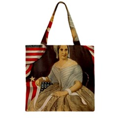 Betsy Ross Author of The First American Flag and Seal Patriotic USA Vintage Portrait Zipper Grocery Tote Bag