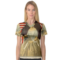 Betsy Ross Author of The First American Flag and Seal Patriotic USA Vintage Portrait Women s V-Neck Sport Mesh Tee
