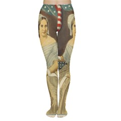 Betsy Ross Author of The First American Flag and Seal Patriotic USA Vintage Portrait Women s Tights