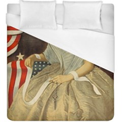 Betsy Ross Author of The First American Flag and Seal Patriotic USA Vintage Portrait Duvet Cover (King Size)