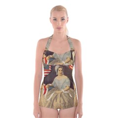 Betsy Ross Author of The First American Flag and Seal Patriotic USA Vintage Portrait Boyleg Halter Swimsuit