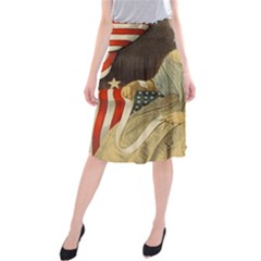 Betsy Ross Author of The First American Flag and Seal Patriotic USA Vintage Portrait Midi Beach Skirt