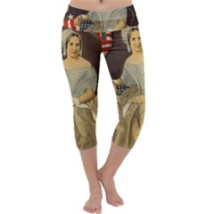 Betsy Ross Author of The First American Flag and Seal Patriotic USA Vintage Portrait Capri Yoga Leggings