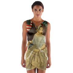Betsy Ross Author of The First American Flag and Seal Patriotic USA Vintage Portrait Wrap Front Bodycon Dress