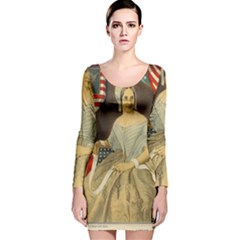 Betsy Ross Author of The First American Flag and Seal Patriotic USA Vintage Portrait Long Sleeve Velvet Bodycon Dress