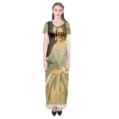 Betsy Ross Author of The First American Flag and Seal Patriotic USA Vintage Portrait Short Sleeve Maxi Dress