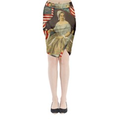 Betsy Ross Author of The First American Flag and Seal Patriotic USA Vintage Portrait Midi Wrap Pencil Skirt