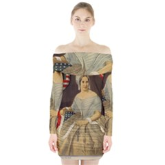 Betsy Ross Author of The First American Flag and Seal Patriotic USA Vintage Portrait Long Sleeve Off Shoulder Dress