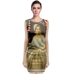 Betsy Ross Author of The First American Flag and Seal Patriotic USA Vintage Portrait Sleeveless Velvet Midi Dress