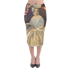 Betsy Ross Author of The First American Flag and Seal Patriotic USA Vintage Portrait Velvet Midi Pencil Skirt