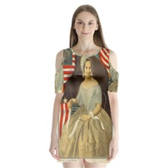 Betsy Ross Author of The First American Flag and Seal Patriotic USA Vintage Portrait Shoulder Cutout Velvet  One Piece