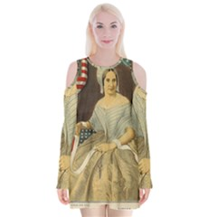 Betsy Ross Author of The First American Flag and Seal Patriotic USA Vintage Portrait Velvet Long Sleeve Shoulder Cutout Dress