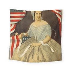 Betsy Ross Author of The First American Flag and Seal Patriotic USA Vintage Portrait Square Tapestry (Small)