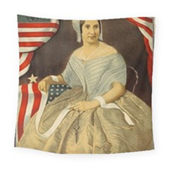 Betsy Ross Author of The First American Flag and Seal Patriotic USA Vintage Portrait Square Tapestry (Large)