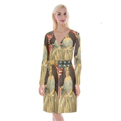 Betsy Ross Author of The First American Flag and Seal Patriotic USA Vintage Portrait Long Sleeve Velvet Front Wrap Dress