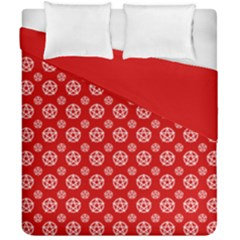 Dark Red White Pentacle Pagan Wiccan Duvet Cover Double Side (california King Size)