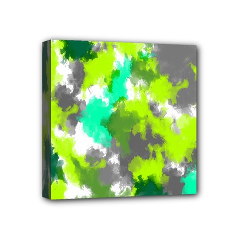 Abstract Watercolor Background Wallpaper Of Watercolor Splashes Green Hues Mini Canvas 4  x 4
