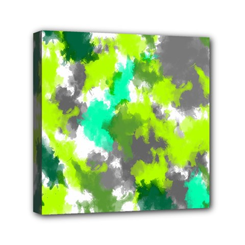 Abstract Watercolor Background Wallpaper Of Watercolor Splashes Green Hues Mini Canvas 6  x 6
