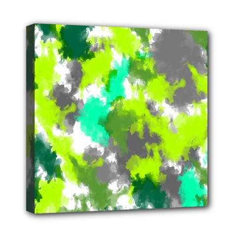 Abstract Watercolor Background Wallpaper Of Watercolor Splashes Green Hues Mini Canvas 8  x 8