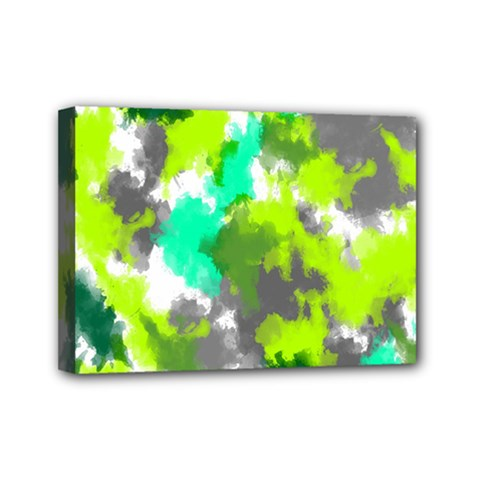 Abstract Watercolor Background Wallpaper Of Watercolor Splashes Green Hues Mini Canvas 7  X 5