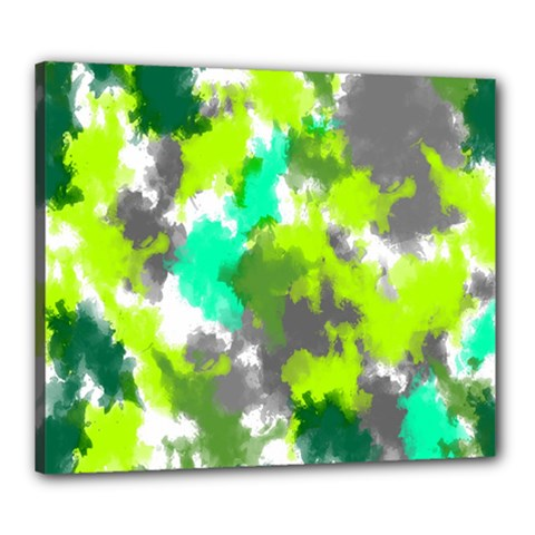 Abstract Watercolor Background Wallpaper Of Watercolor Splashes Green Hues Canvas 24  X 20