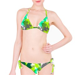 Abstract Watercolor Background Wallpaper Of Watercolor Splashes Green Hues Bikini Set