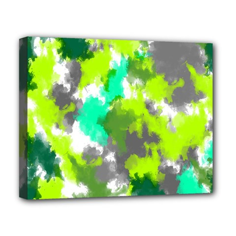 Abstract Watercolor Background Wallpaper Of Watercolor Splashes Green Hues Deluxe Canvas 20  x 16