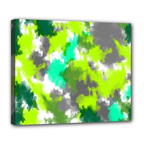 Abstract Watercolor Background Wallpaper Of Watercolor Splashes Green Hues Deluxe Canvas 24  x 20