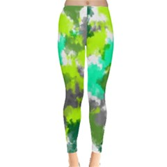 Abstract Watercolor Background Wallpaper Of Watercolor Splashes Green Hues Leggings