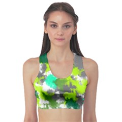 Abstract Watercolor Background Wallpaper Of Watercolor Splashes Green Hues Sports Bra