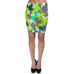 Abstract Watercolor Background Wallpaper Of Watercolor Splashes Green Hues Bodycon Skirt