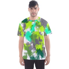 Abstract Watercolor Background Wallpaper Of Watercolor Splashes Green Hues Men s Sport Mesh Tee