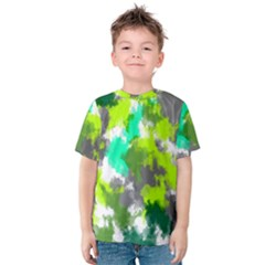 Abstract Watercolor Background Wallpaper Of Watercolor Splashes Green Hues Kids  Cotton Tee