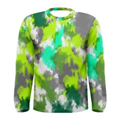 Abstract Watercolor Background Wallpaper Of Watercolor Splashes Green Hues Men s Long Sleeve Tee
